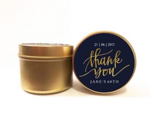 blue and gold thank you soy candle by mahina