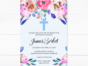 blue floral cross invitation