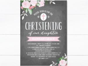 chalkboard floral invitation