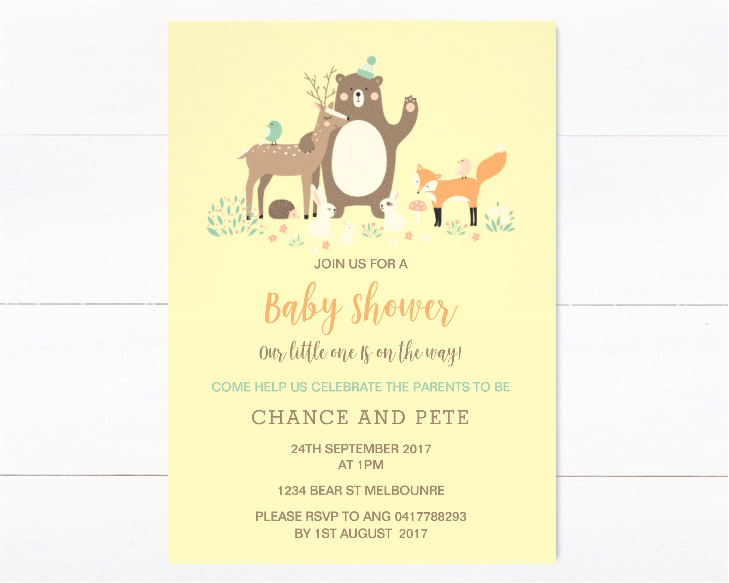 Yellow Woodlands Animal Baby Shower Invitation