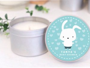 bunny blue baby shower soy candle by mahina