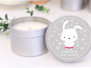 bunny grey baby shower soy candle by mahina