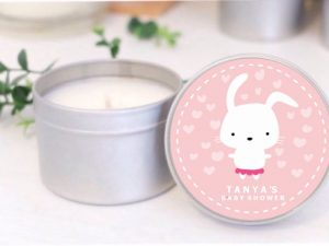 bunny pink baby shower soy candle by mahina