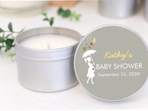 grey umbrella baby shower soy candle by mahina