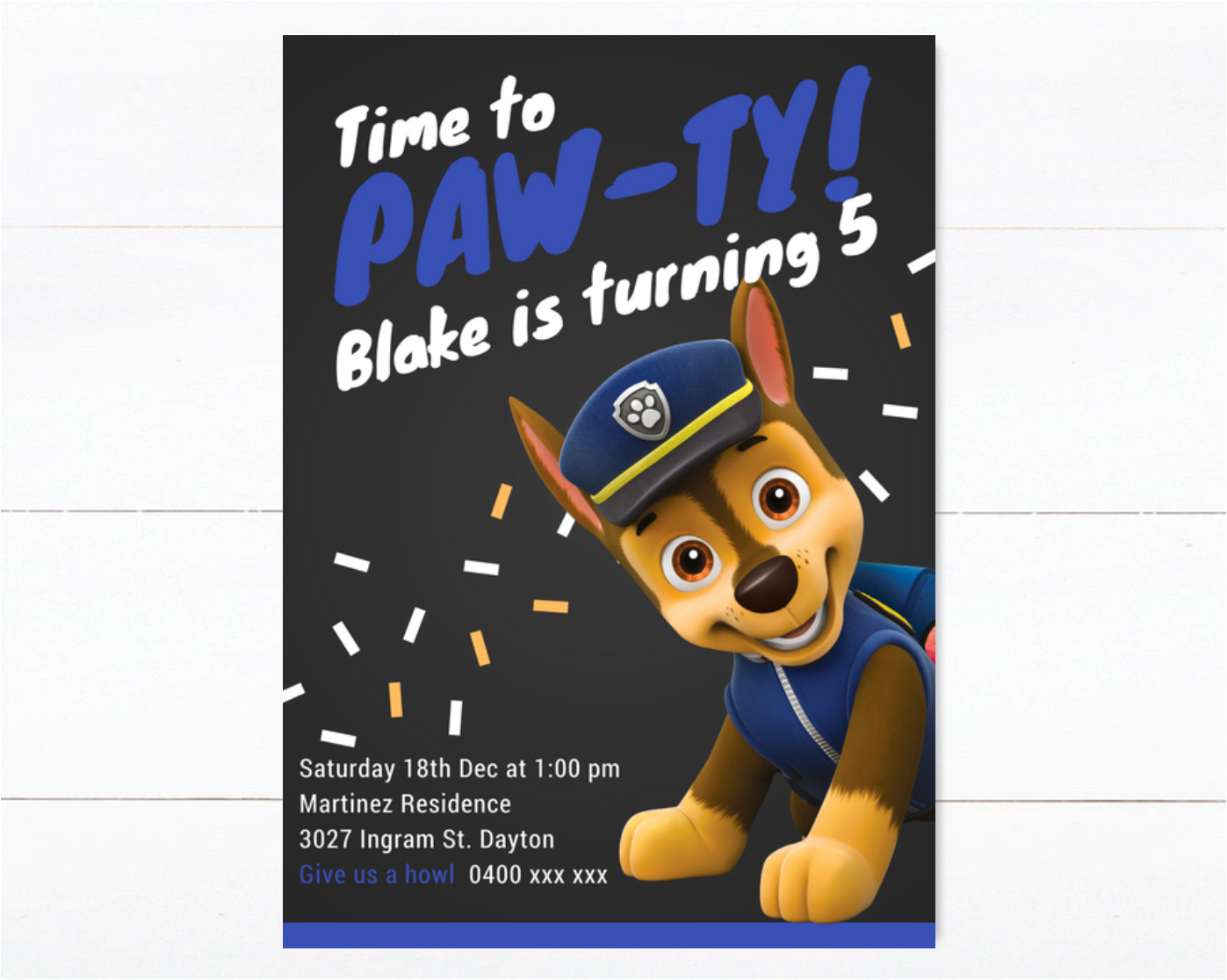 Pink Paw Patrol Birthday Invitation