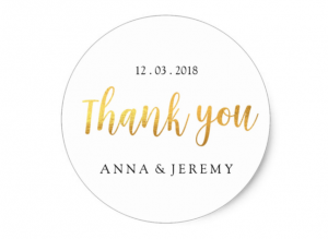 gold thankyou sticker by mahina