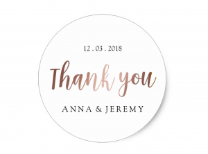 rose gold thank you sticker by mahina